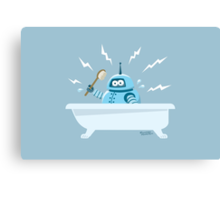 Robot in the bath Canvas Print