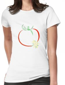 Colour outline of ripe tomato and tomato flower Womens Fitted T-Shirt