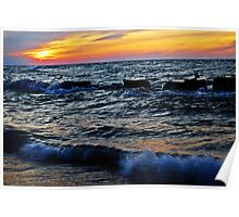 Lake Erie: Sunset on Fire Poster