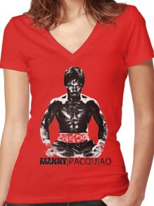 Manny Pacman Pacquiao DESTROY Floyd Mayweather boxing shirt Women's Fitted V-Neck T-Shirt