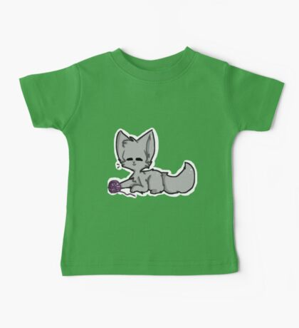 Grey Cat with Yarn Baby Tee