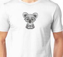 Cute Baby Koala Bear Cub Wearing Glasses on Blue Unisex T-Shirt