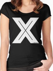 X Inline [White Ink] Women's Fitted Scoop T-Shirt