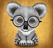 Cute Baby Koala Bear Cub Wearing Glasses on Yellow by Jeff Bartels