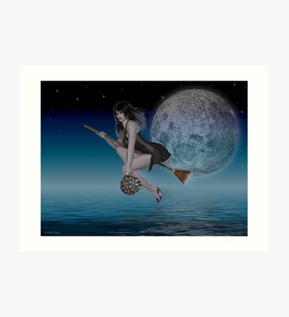 Late Night Delievery .. a witch by moonlight Art Print
