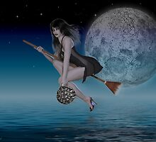 Late Night Delievery .. a witch by moonlight by LoneAngel
