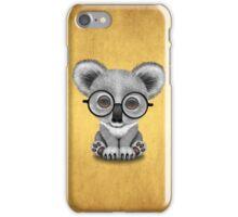 Cute Baby Koala Bear Cub Wearing Glasses on Yellow iPhone Case/Skin