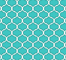 Teal and White Latticework Graphic by cikedo