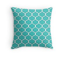 Teal and White Latticework Graphic Throw Pillow