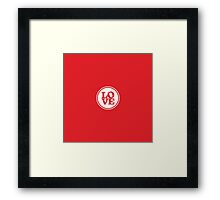 MODERN LOVE SPOT simple typography bright red Framed Print