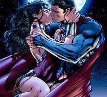 superman and wonder woman kiss and hugs by JackCustomArt