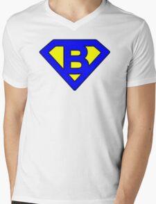 B letter Mens V-Neck T-Shirt