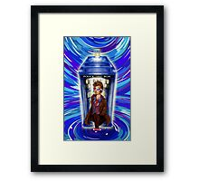 10th Doctor with Blue Phone box in time vortex Framed Print