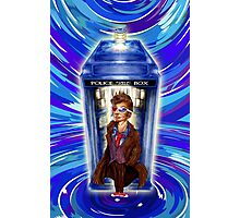 10th Doctor with Blue Phone box in time vortex Photographic Print