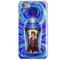 10th Doctor with Blue Phone box in time vortex iPhone Case/Skin