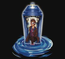 10th Doctor with Blue Phone box in time vortex Kids Tee