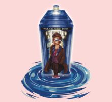 10th Doctor with Blue Phone box in time vortex One Piece - Short Sleeve