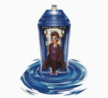 10th Doctor with Blue Phone box in time vortex Kids Clothes