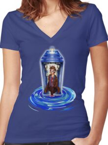 10th Doctor with Blue Phone box in time vortex Women's Fitted V-Neck T-Shirt