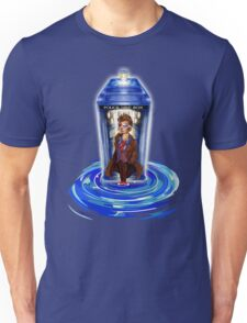 10th Doctor with Blue Phone box in time vortex Unisex T-Shirt