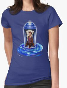 10th Doctor with Blue Phone box in time vortex Womens Fitted T-Shirt