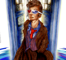 10th Doctor with Blue Phone box in time vortex Sticker