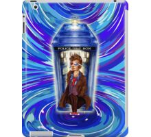10th Doctor with Blue Phone box in time vortex iPad Case/Skin