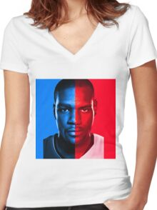 Kevin Durant LeBron James Face Off Mash Up T-Shirt Women's Fitted V-Neck T-Shirt