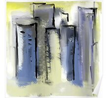 City in Pastel Blues and Yellows Poster