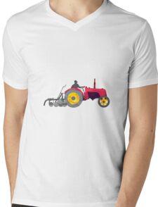Farmer Driving Vintage Farm Tractor Low Polygon Mens V-Neck T-Shirt