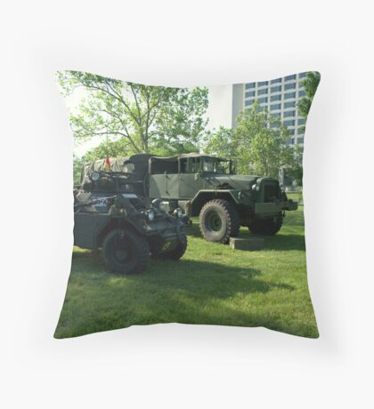1956 Diamler Scout Military Vehicle and 6 X 6 Military Truck Throw Pillow