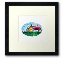 Farmer Driving Vintage Farm Tractor Oval Low Polygon Framed Print