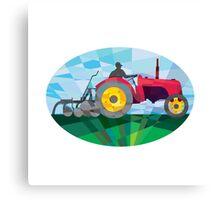 Farmer Driving Vintage Farm Tractor Oval Low Polygon Canvas Print
