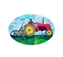 Farmer Driving Vintage Farm Tractor Oval Low Polygon Photographic Print