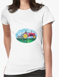 Farmer Driving Vintage Farm Tractor Oval Low Polygon Womens Fitted T-Shirt