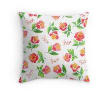 Watercolor retro rose. Throw Pillow