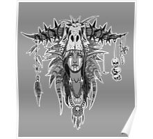 Signed Grey Prehistoric Elf Witch Doctor Poster