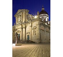 Dubrovnik cathedral at night, Croatia Photographic Print