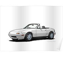 Mazda MX-5 Miata MK1 Crystal White Poster