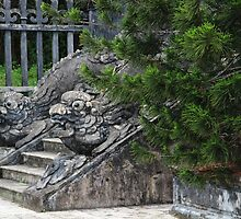 Dragon Stone Stairs - Hue, Vietnam. by Tiffany Lenoir