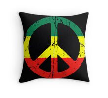 Rasta Peace - Distressed Throw Pillow