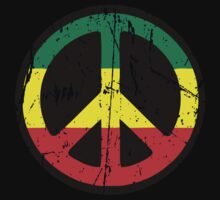 Rasta Peace - Distressed T-Shirt