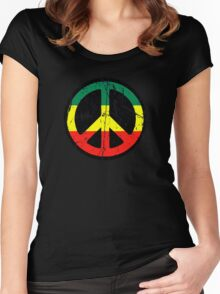 Rasta Peace and love - Distressed Women's Fitted Scoop T-Shirt