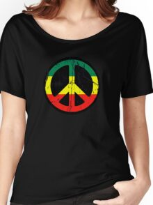 Rasta Peace and love - Distressed Women's Relaxed Fit T-Shirt