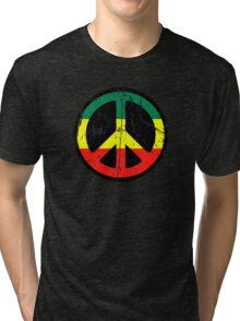 Rasta Peace and love - Distressed Tri-blend T-Shirt