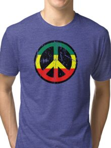 Rasta Peace and love - Distressed Tri-blend T-Shirt