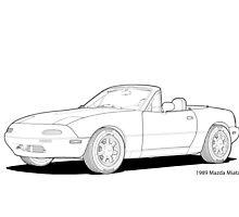 Mazda MX-5 Miata MK1 Line Illustration by DigitalCel