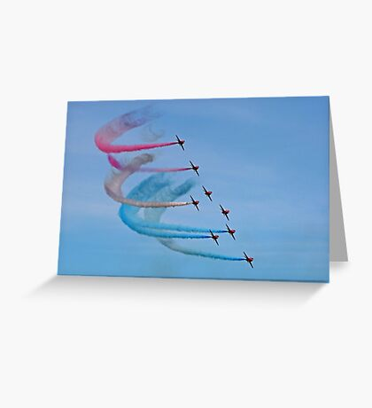 The Red Arrows with red, white and blue trails Greeting Card
