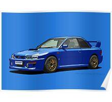 Subaru Impreza 22B STI Type UK Sonic Blue Poster