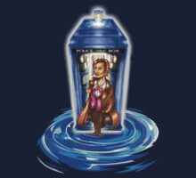 11th Doctor with Blue Phone box in time vortex Kids Tee